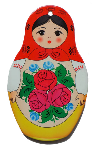 Nesting Doll with Red Scarf Wall Trivet