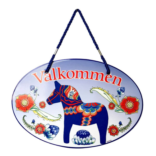 Ceramic Door Sign: Valkommen Blue Dala Horse Cork Backing