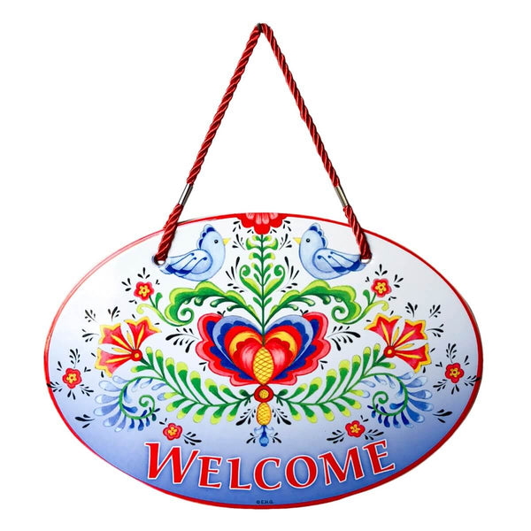Ceramic Door Sign: Welcome Rosemaling & Lovebirds