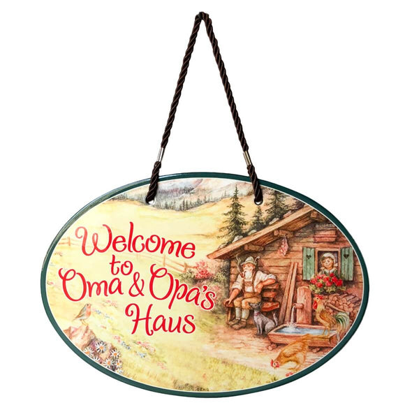 Oma & Opa's House Ceramic Door Sign Alpine Design