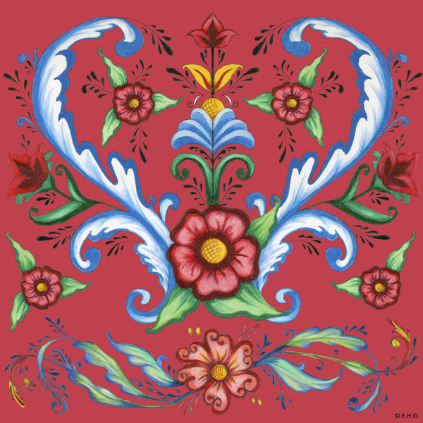 Ceramic Deluxe Wall Tile: Red Rosemaling