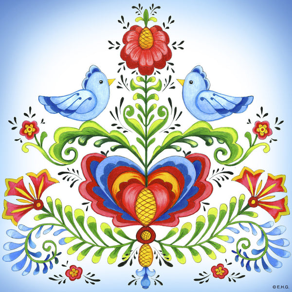 Ceramic Deluxe Wall Tile: Lovebirds