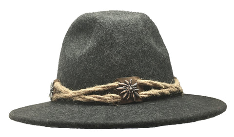 German Edelweiss Themed 100% Wool Hat for Men w/ Brown Rope