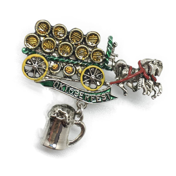 Oktoberfest Wagon Brass Hat Pin with