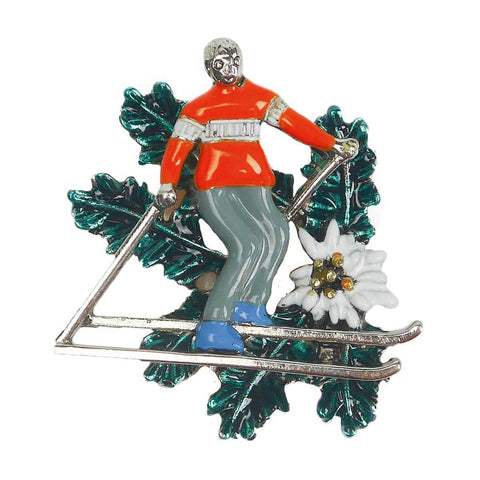Metal Hat Pin of Alpine Skier & Edelweiss