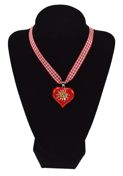 Edelweiss Red Heart Necklace German Oktoberfest Jewelry