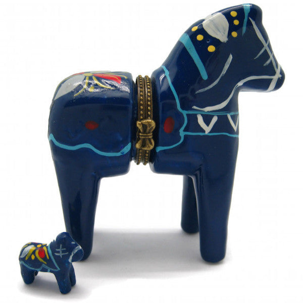 Sweden Dala Horse Blue Hinge Box