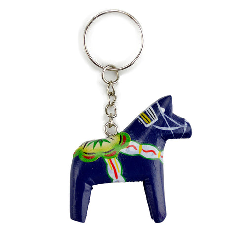 Swedish Gift Dala Horse Blue Key Ring