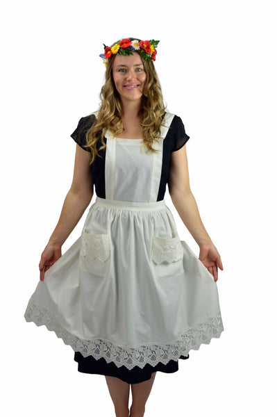 Deluxe European Ecru Adult Full Apron
