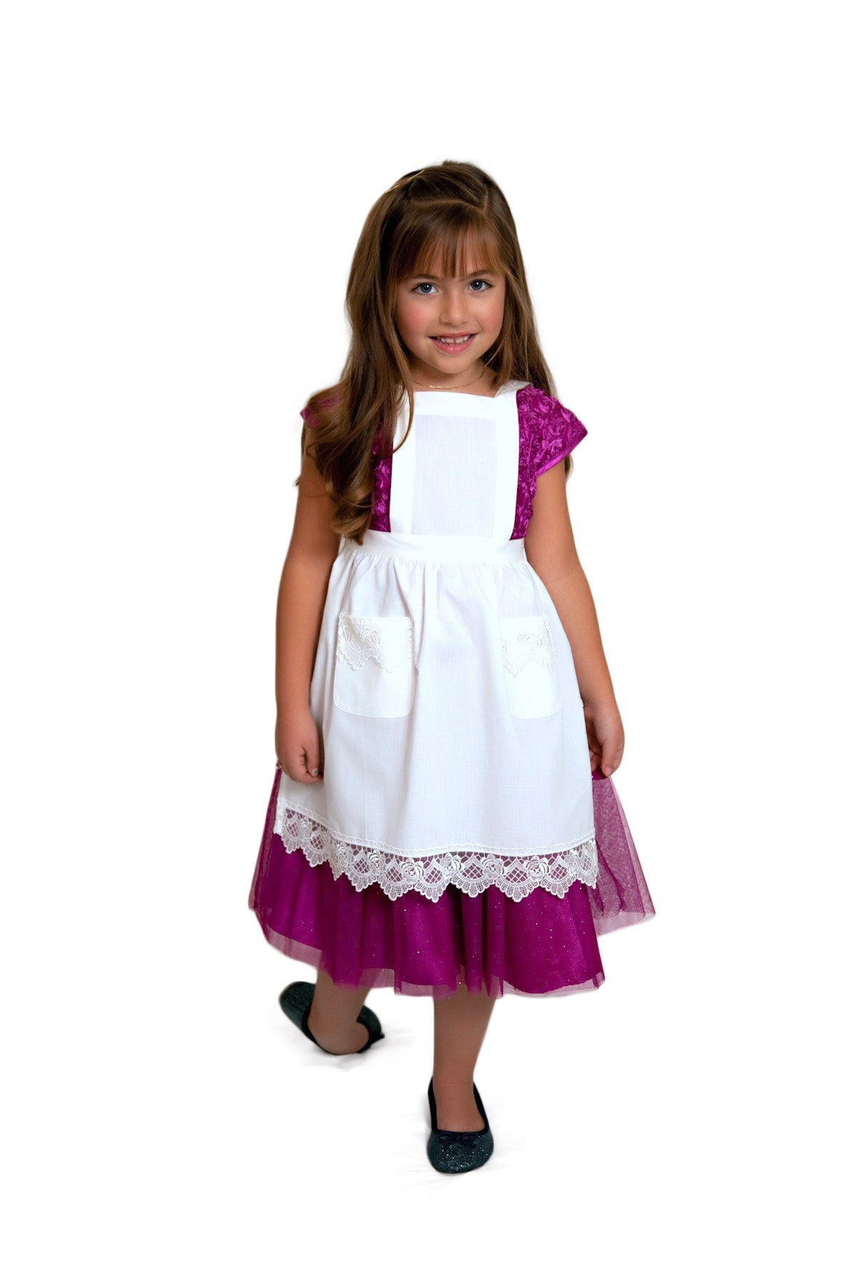 White apron girl -  Deluxe Girls White Lace Full Apron Ages 2 8