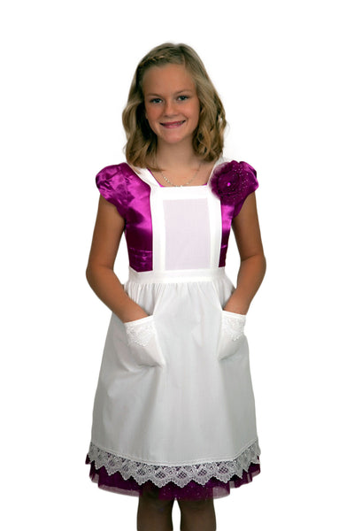 Deluxe Girls White Lace Full Apron (Ages 8-16)