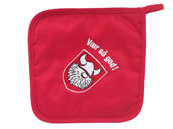 Red Potholder Scandinavian Gift Idea Vaer Sa God!