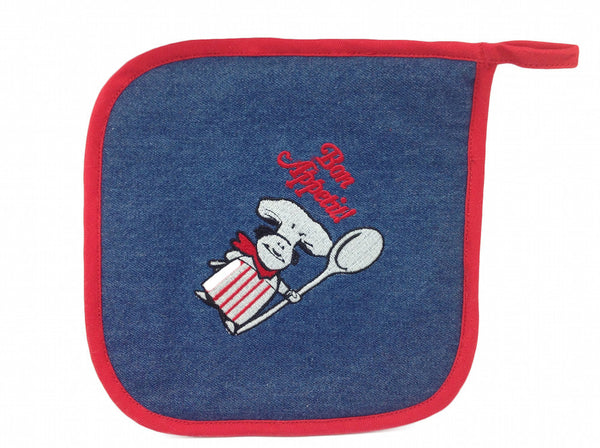 French Heritage Denim Potholder Kitchenware Bon Appetit!