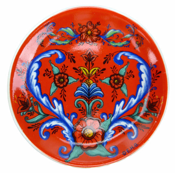 Rosemaling Ceramic Fridge Magnet Plate