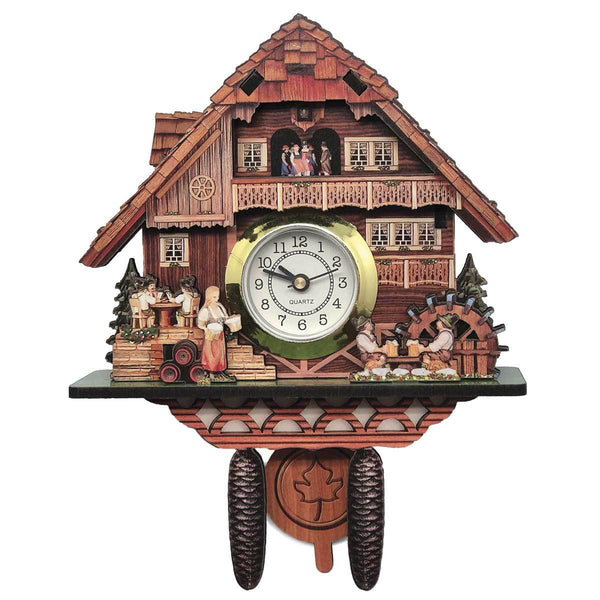Real Clock Bierstube 3-D German Village Scene Fridge Magnet