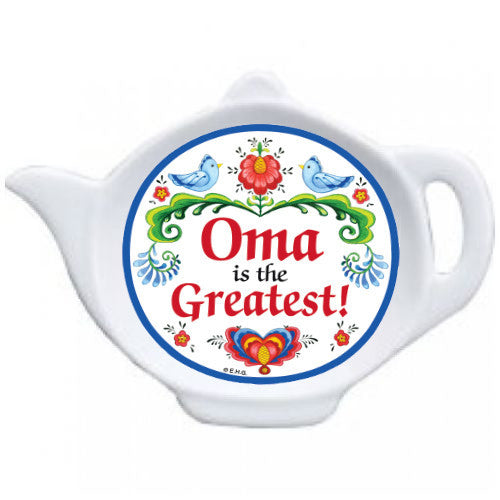 Oma is the Greatest Teapot Magnet with Birds Design