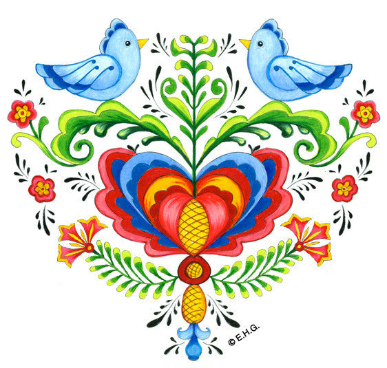 Magnetic Heart Tile: Lovebirds & Rosemaling