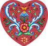 Magnetic Heart Tile: Red Rosemaling Hearts