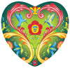 Magnetic Heart Tile: Green Rosemaling Hearts