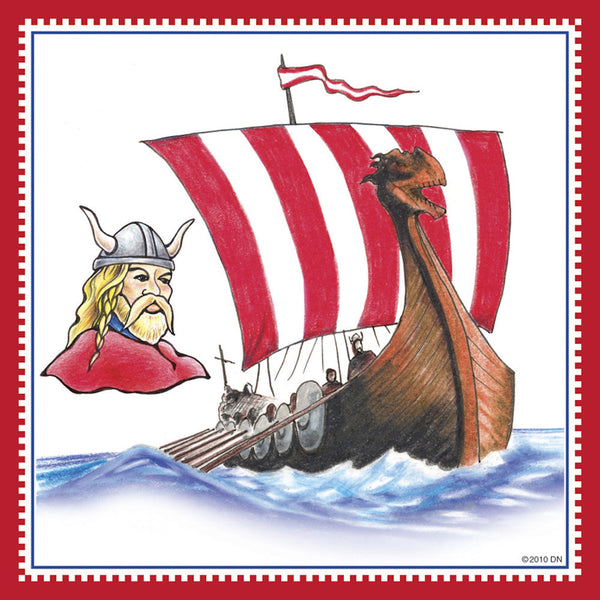 Norwegian Viking Ship Fridge Tile Magnet