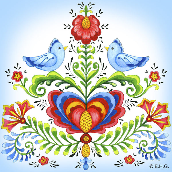 Magnetic Tile: Rosemaling & Lovebirds