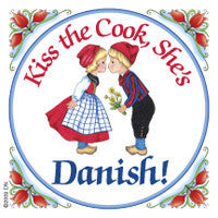 Danish Refrigerator Tile Magnet (Kiss Danish Cook)