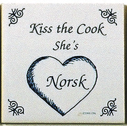 Norwegian Culture Tile Magnet (Kiss Norsk Cook)