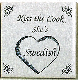 Swedish Culture Tile Magnet (Kiss Swedish Cook)