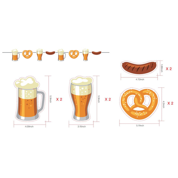 8 Flag Oktoberfest Party Supplies Party String Banner with Paper Beer Steins and Pretzels Decoration