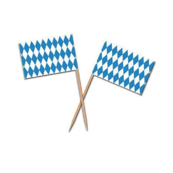 Oktoberfest Party Supplies Appetizer Toothpicks 50 Pieces with Bavarian Checkered Pattern Decoration