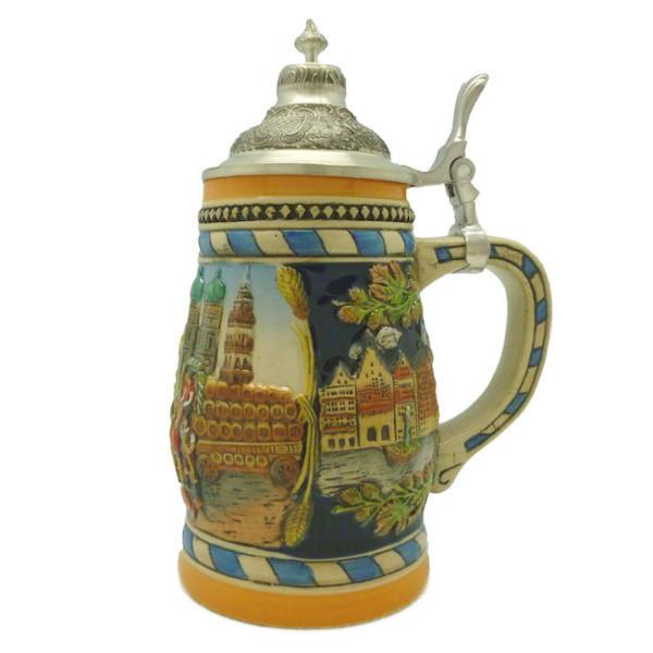 Classic Munich Scene Collectible Bier Stein with Metal Lid