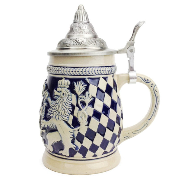 Germany Bayern Coat of Arms Cobalt Blue Beer Stein with Engraved Metal Lid