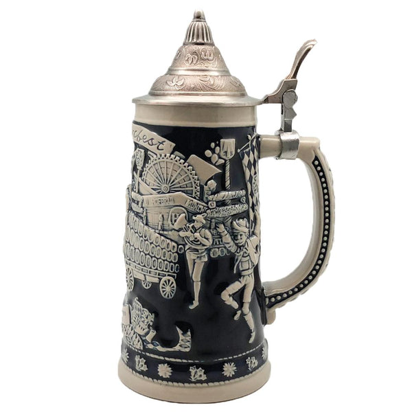 Oktoberfest  Beerwagon Beer Stein .75L with Etched Metal Lid