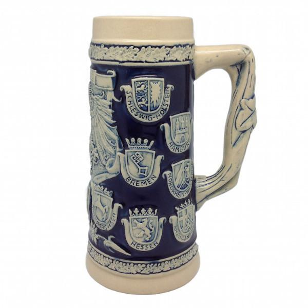Cobalt Blue Germany Coats of Arms Engraved Bier Stein