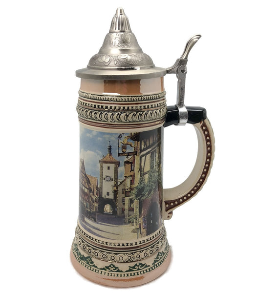 Rothenburg Germany 1L Tankard Stein with Etched Metal Lid