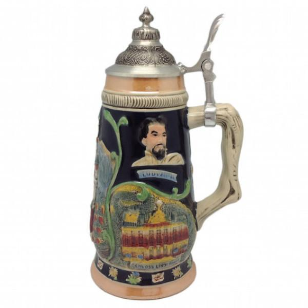 Highlights of Germany Collectible Beer Stein with Engraved Metal Lid