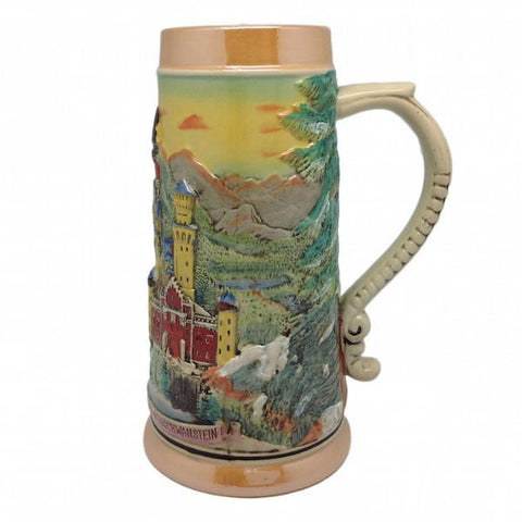 Ludwig's Castle Mountain Scene Engraved Beer Stein