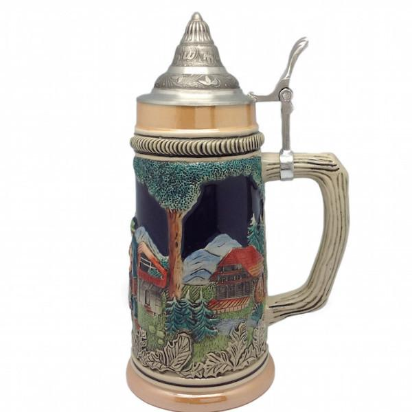 German Cuckoo Clock & Waterwheel Beer Stein with Metal Lid