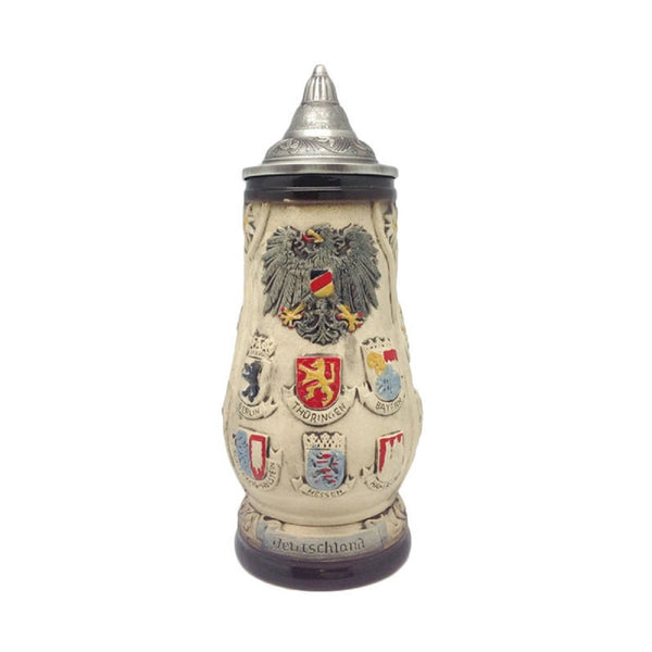 Deutschland Coat of Arms Collectible Bier Stein with Engraved Metal Lid