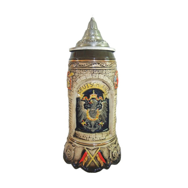 Scenic Deutschland Engraved Collectible Beer Stein with Engraved Metal Lid