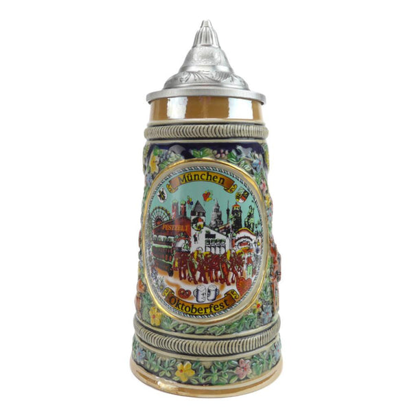 Collectible Oktoberfest Deluxe Bier Stein with Engraved Metal Lid