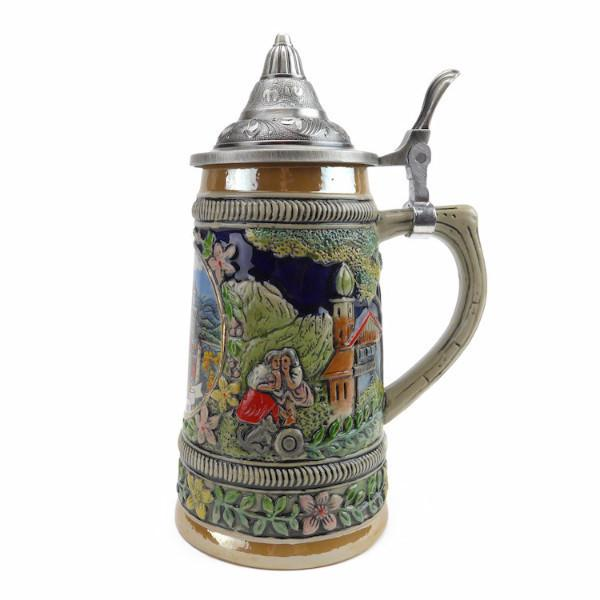 Neuschwanstein Ludwigs Castle Beer Stein with Engraved Metal Lid