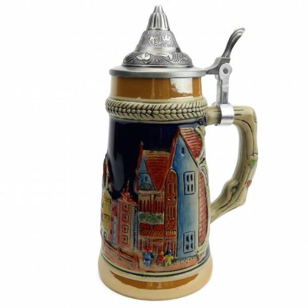 German Village Scene .75L Engraved Ceramic Lidded Beer Stein