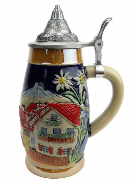 Alpine Village Engraved Stein with Metal Lid