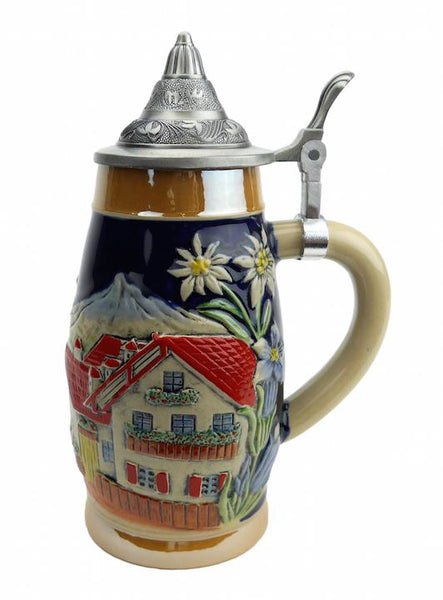 Alpine Village Scene .75L Hand Painted Ceramic Lidded Stein