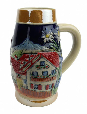 Alpine Village Scene .75L Hand Painted Ceramic Beer Stein