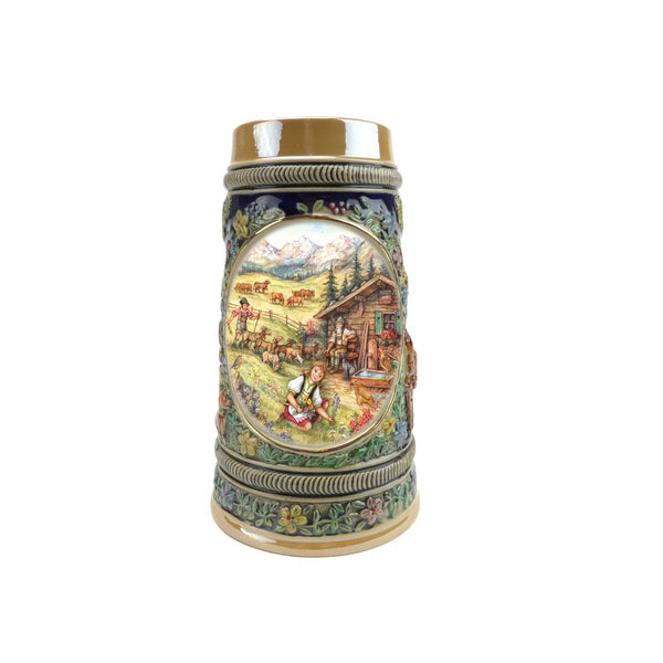 Spring in Germany Beer Stein .5 Liter Embossed Ceramic