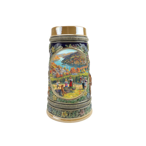 Fall in Germany Bier Stein .5 Liter Embossed Ceramic