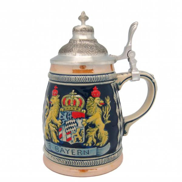 Bayern Coat of Arms Engraved Bier Stein with Engraved Metal Lid