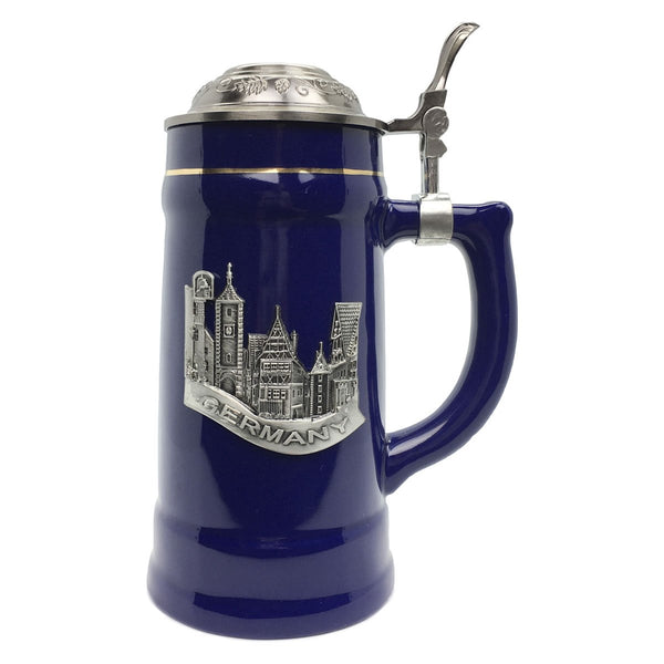 German Village Beer Mug .75L Cobalt Blue Medallion Stein w/ Lid
